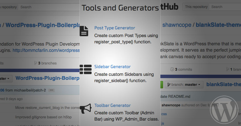 Screenshots of various tools and boilerplates