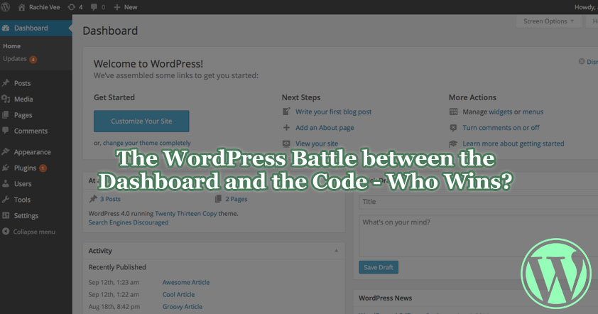 A screenshot of the WordPress dashboard