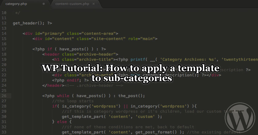 How to apply a template to sub-categories