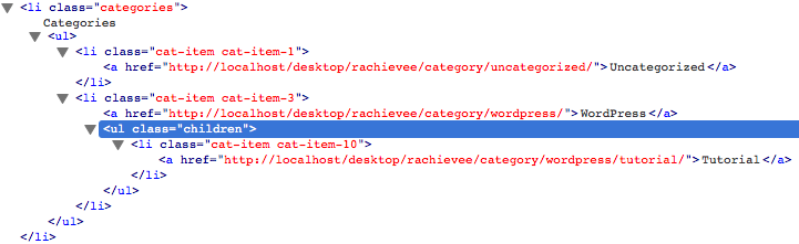 """wp_list_categories creates a ul with the class of """"children"""" inside of it's parent, so unlike get_the_category_list, the child is inside the parent"""