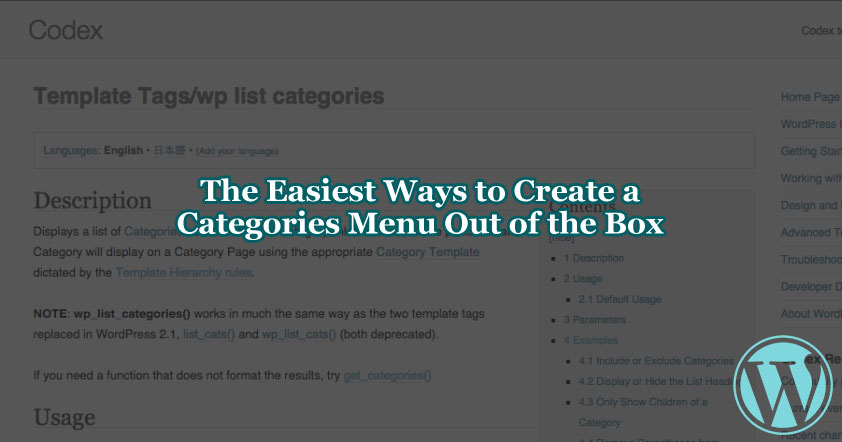 How to Create a Categories and Sub-categories Menu Part 1