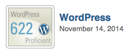 Rachel's Wordpress score on Smarterer