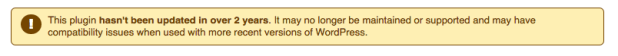 not maintained message on wordpress repo