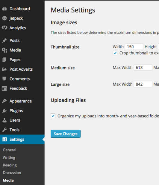 WordPress' default media settings.