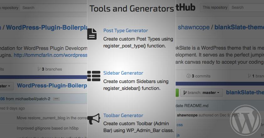 Screenshots of various tools and boilerplates