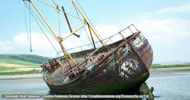 Shipwreck with WordPress Logo