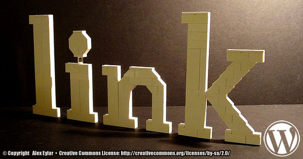 The word link made from legos.